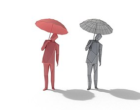 3D asset Low Poly Man with Umbrella
