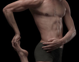 3d hyper realistic human male ballet dancer stretching