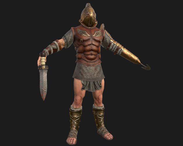 gladiator 3d model low-poly fbx tga 1