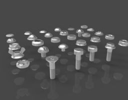 Screws nuts and bolts 3D model collection realtime