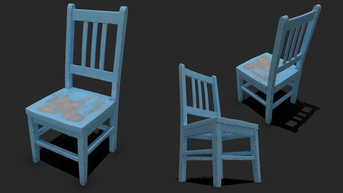 Superb Old Painted Wooden Chair 3D Model Home Interior And Landscaping Oversignezvosmurscom