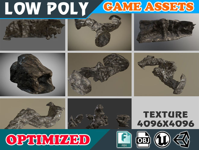 low poly realistic wet-mossy cave rock pack - game ready 3d model low-poly obj mtl fbx 1