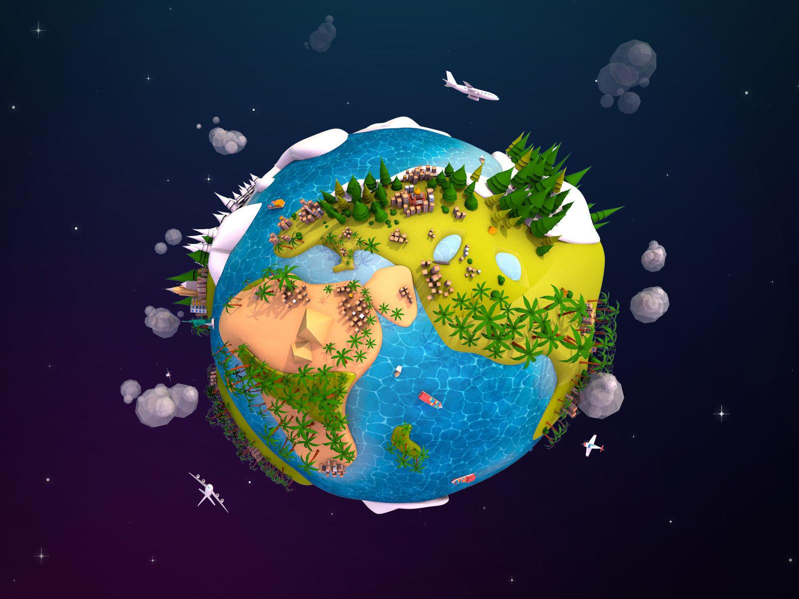 Cartoon Lowpoly Earth Planet 2