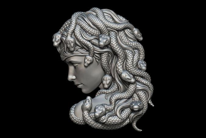 medusa bas-relief 3d model obj mtl stl 1