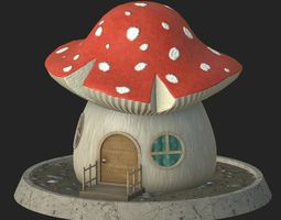 Cartoon mushroom house 3D model low-poly