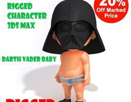 Darth Vader baby cartoon rigged 3D model