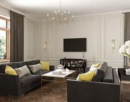 3D model living room kitchen