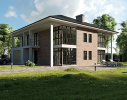 3D American style house