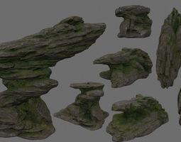 temple 3D model rocks set