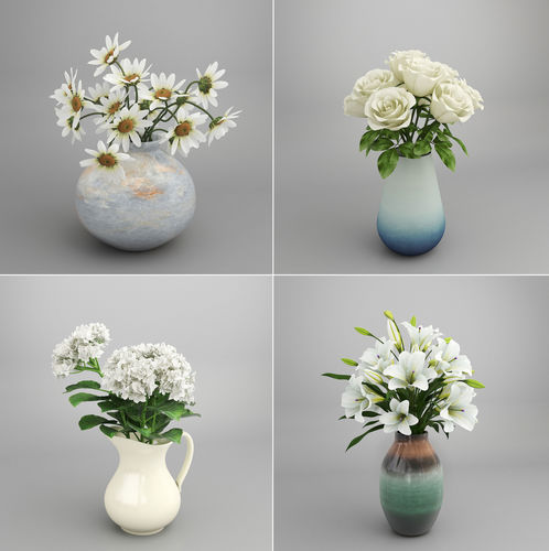 3d White Flower Bouquet In Vase Cgtrader