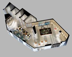 Detailed Office reception Interior Scene 3D