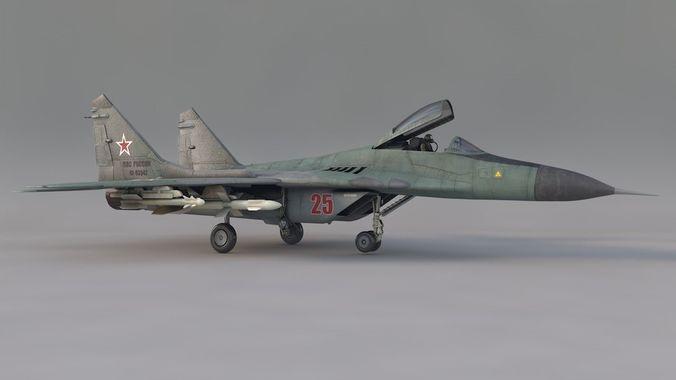 mikoyan mig-29 3d model obj mtl 3ds fbx c4d 1