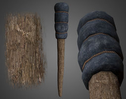 Wrapped Medieval Torch 3D model