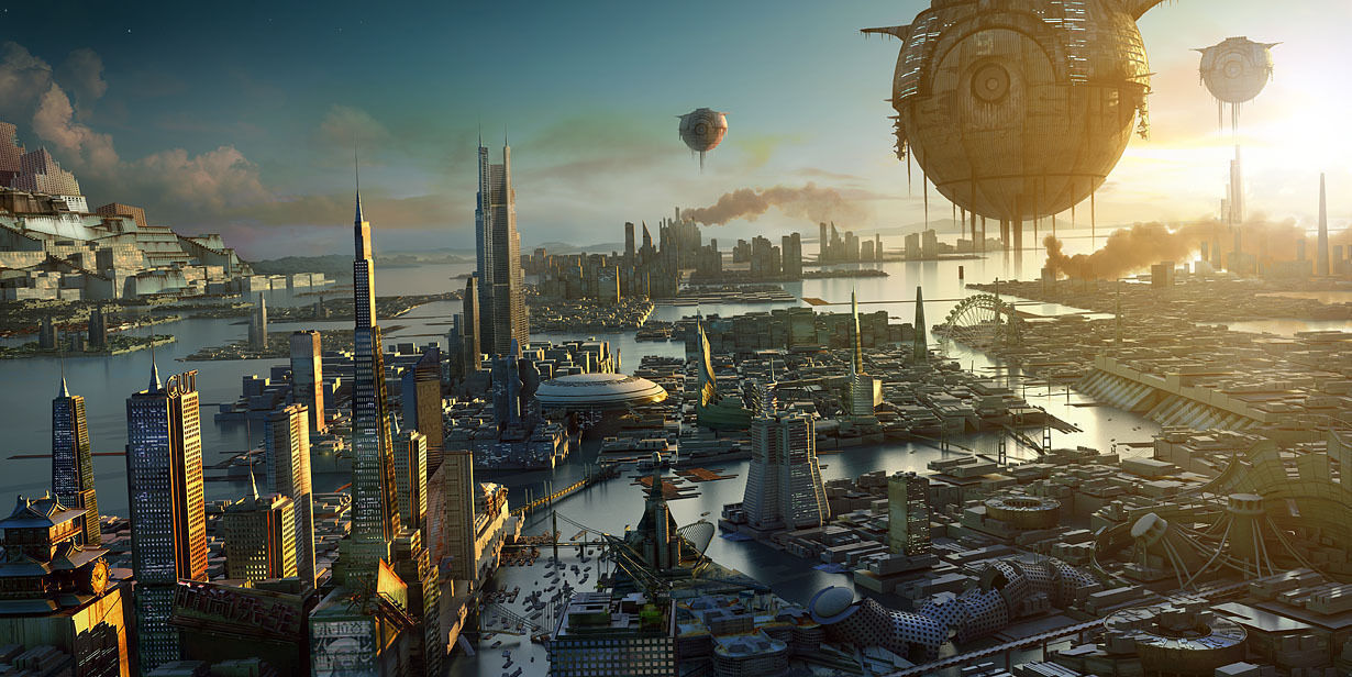 sci fi city 3d model cgtrader