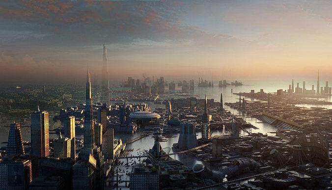 sci fi city 3d model max obj mtl fbx 1