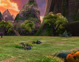 Sunset Valley Scene 3D