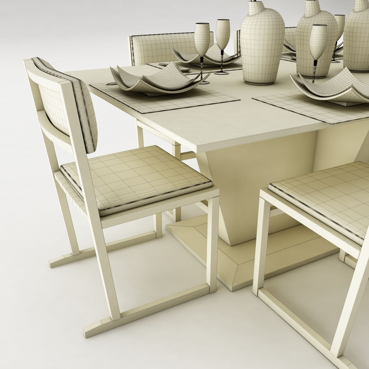 Dining table set 20 3d model max obj 3ds fbx mtl for Dining room table 3ds max