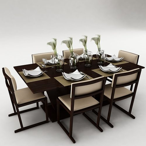 dining table set 3d model fbx cgtrader