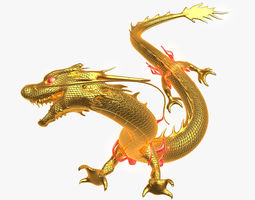 3d model chinese golden dragon animated