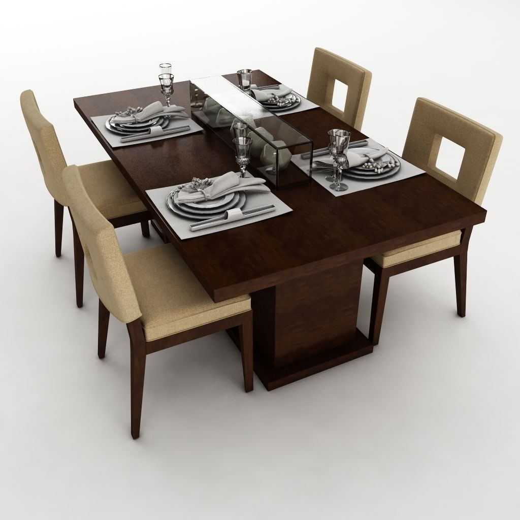 Dining table set 23 3d model max obj 3ds fbx mtl for Dining table models