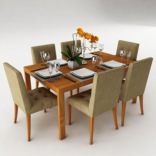 dining table set dinning 3d cgtrader. Black Bedroom Furniture Sets. Home Design Ideas