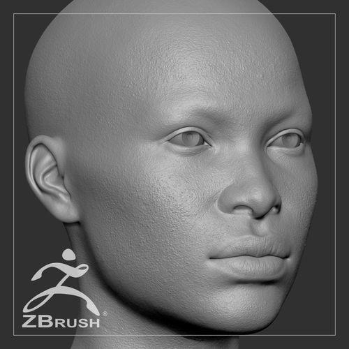 average black female head basemesh 3d model ztl 1