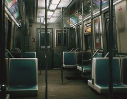 3D model City Subway Train - Unreal Project UE4 - PBR 1