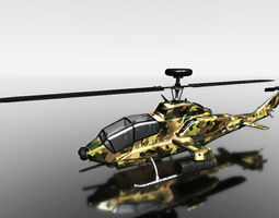3d model camouflage helicopter for games