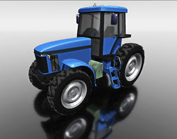 3d model blue tractor for games