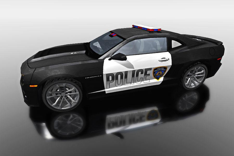 Black Police Car For Games 3d Model Fbx