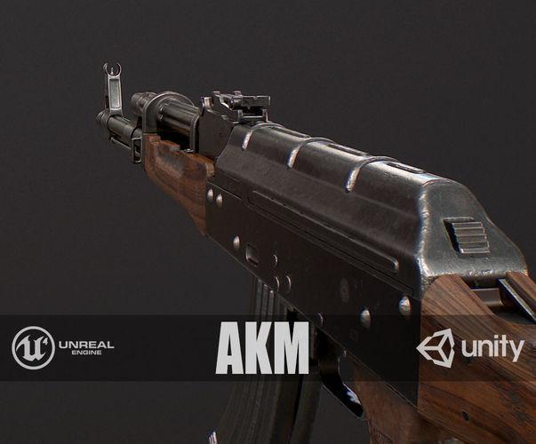 pbr akm 3d model low-poly max obj mtl fbx 1