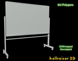 3D asset Whiteboard with stand