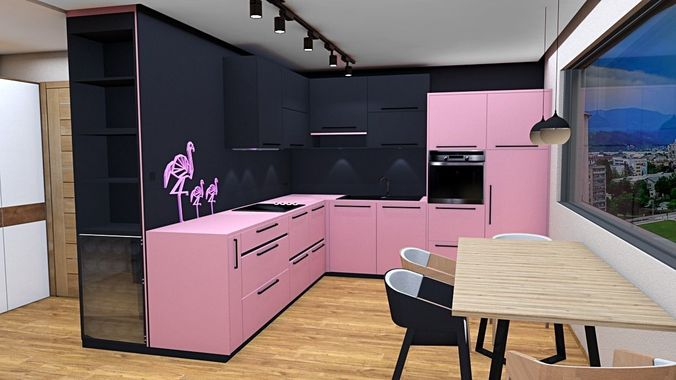 modern kitchen and living room 3D model VR / AR ready