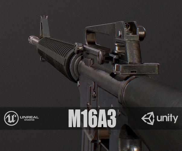 pbr m16a3 3d model low-poly max obj mtl fbx 1