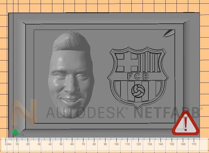 lionel messi - fc barcelona - 3d print ready frame  3d model stl 1