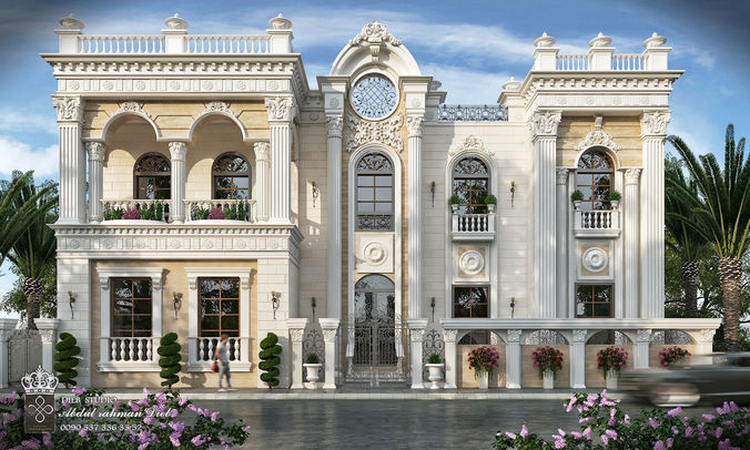 Front Elevation Of Residence : Classic villa b d cgtrader