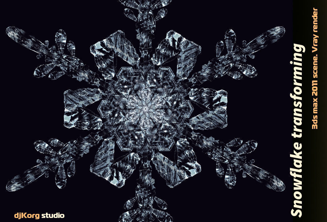 snowflake transforming 3d animation 3d model animated max obj mtl 1