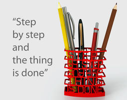 step by step quote pen holder 3d printable model