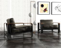 3D model Noda lounge leather armchair