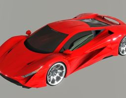 Red Sport Super Car Prototype 2018 3D asset