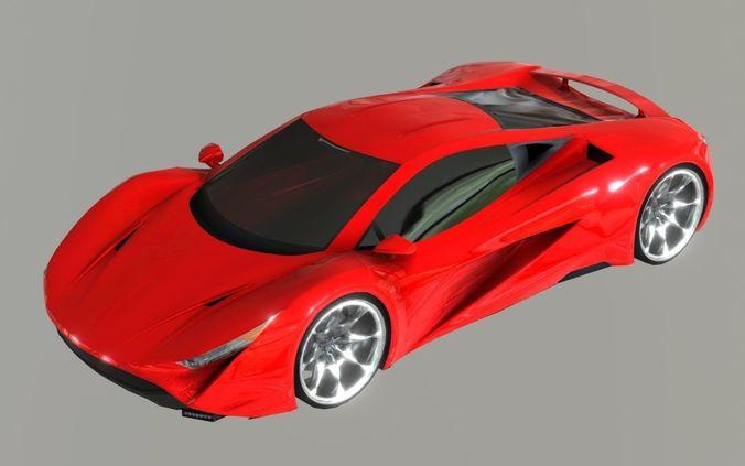 red sport super car prototype 2018 3d model obj mtl 3ds fbx stl blend dae 1