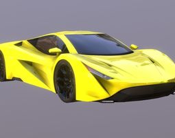 Yellow Super Sport Car Prototype 2018 3D asset