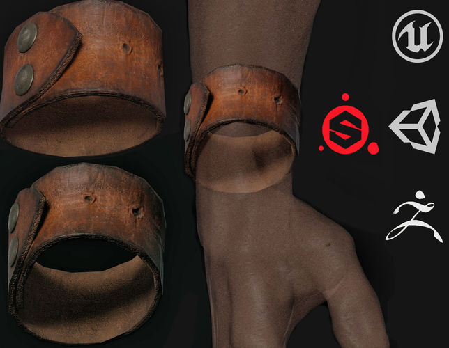 leather bracelet 3d model low-poly max obj 3ds fbx ztl mtl 1