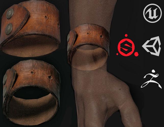 leather bracelet 3d model low-poly max obj mtl 3ds fbx ztl spp 1