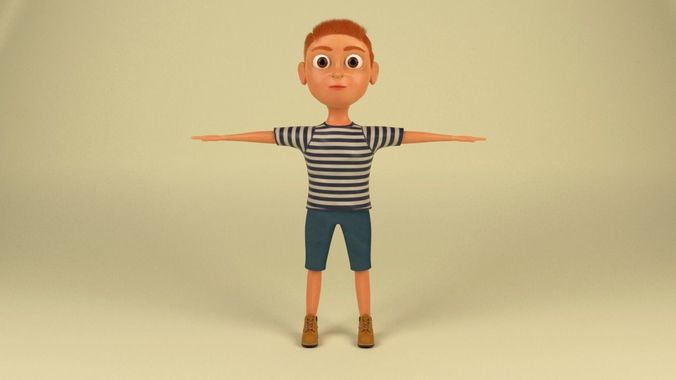cartoon boy  3d model low-poly ma mb 1
