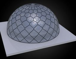 Dome hexagonal grid triangles to hexagon pattern 3D model