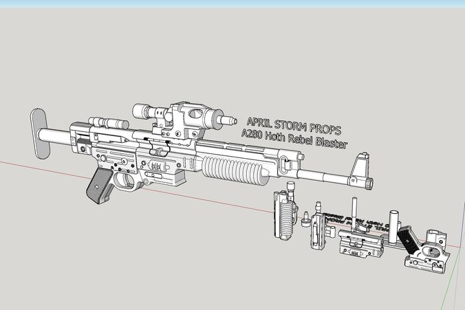 a280 hoth rebel blaster from star wars the empire strikes back 3d model stl 1