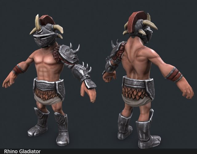 lowpoly gladiators 3d model low-poly rigged animated fbx blend 1