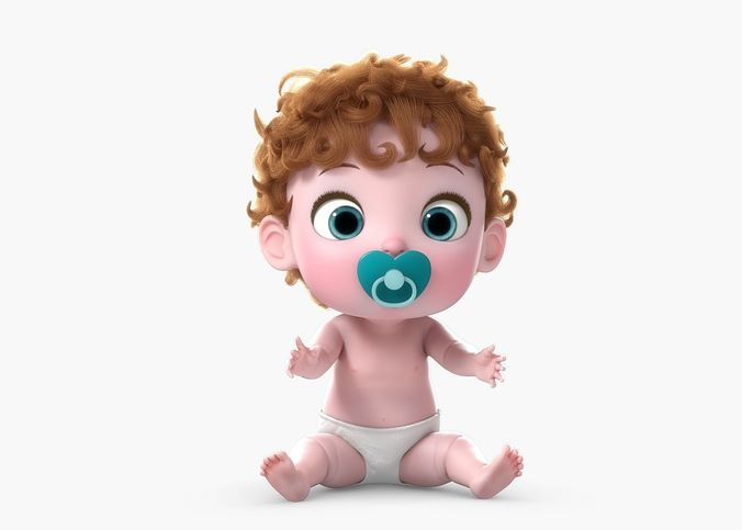 3d Cartoon Twin Baby Rigged Cgtrader