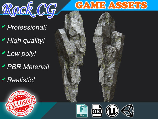 free low poly mossy gray column cliff 001r4 - game ready 3d model low-poly obj fbx 1